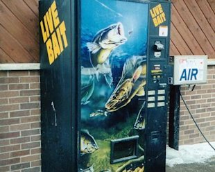 Live bait vending machine.