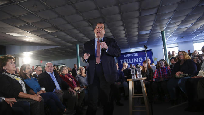 U.S. Republican presidential candidate and New Jersey Governor Chris Christie speaks to voters at a town hall campaign stop at the Hampton Academy in Hampton, New Hampshire