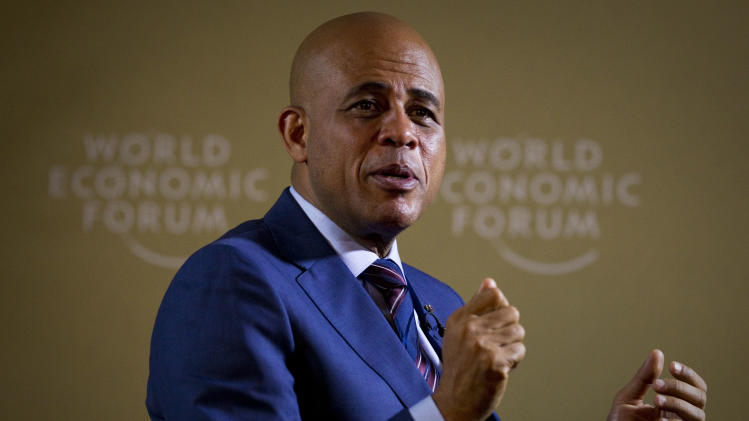Michel Martelly, President of Haiti during an interview with The Associated Press at the World Economic Forum, WEF, in Davos, Thursday, Jan. 26, 2012. (AP Photo/Anja Niedringhaus)