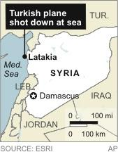 Map locates Latakia, Syria, near where a Turkish plane was shot down by Syria.