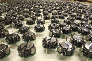 The Kilobots, a swarm of 1,000 simple but collaborative robots, are pictured in this handout photo