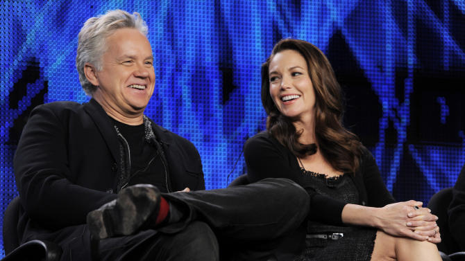 """Tim Robbins, left, and Diane Lane, cast members in the HBO film """"Cinema Verite,"""" take part in a panel discussion during the HBO Television Critics Association winter press tour in Pasadena, Calif., Friday, Jan. 7, 2011. (AP Photo/Chris Pizzello)"""