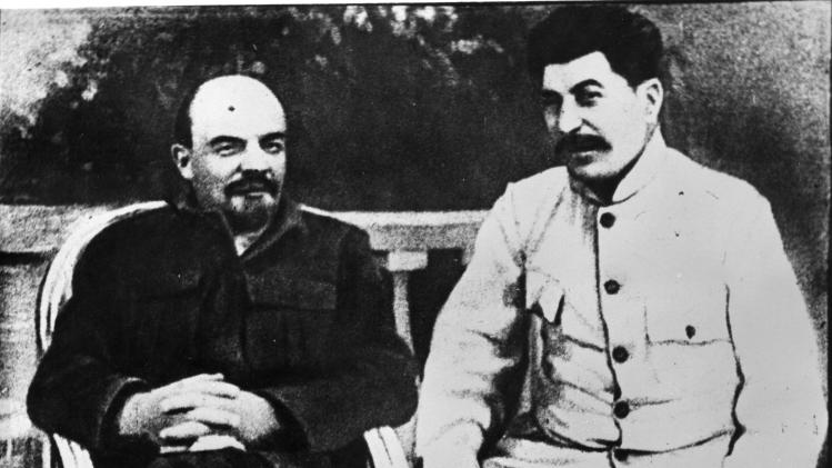 In this 1922 photo, Vladimir Lenin, left, sits in a park with Joseph V. Stalin. Syphilis probably didn't kill Lenin. Stress, on the other hand, didn't help, and poison may have done him in. That's the conclusion of a doctor and a historian who examined medical records and other evidence for an annual University of Maryland School of Medicine conference on the deaths of famous figures. UCLA neurologist Dr. Harry Vinters and Russian historian Lev Lurie reviewed Lenin's records for an annual University of Maryland School of Medicine conference that opens Friday, May 4, 2012 in Baltimore on famous people's deaths. (AP Photo)