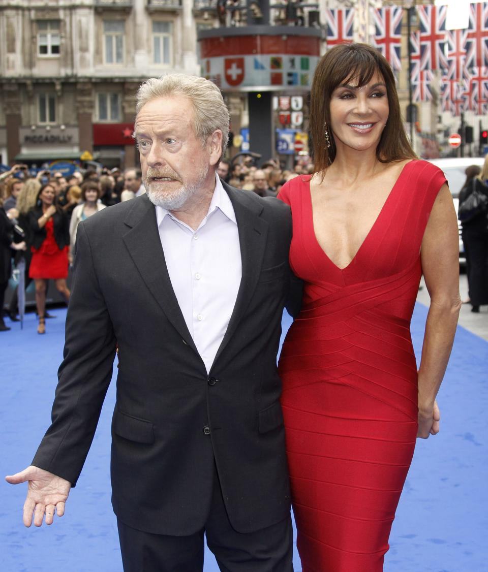 Sir Ridley Scott and his wife Giannina Facio arrive at a central London cinema for the World Premiere of Prometheus, Thursday, May 31, 2012. (AP Photo/Joel Ryan)
