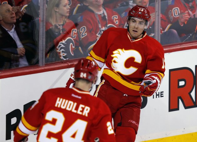 Calgary Flames' Cammalleri celebrates his goal with Hudler during their NHL hockey game against the Vancouver Canucks in Calgary.