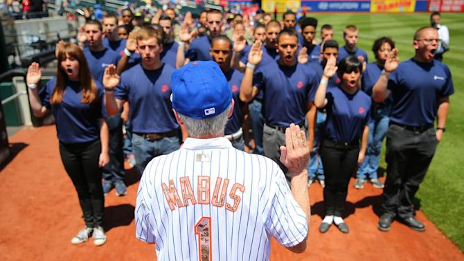 Fleet Week in NYC U.S. Secretary of the Navy Ray Mabus swears in new recruits at an enlistment ceremony at Citi Field before the baseball game against the Philadelphia Phillies at Citi Field as part of the Mets Memorial Day ceremonies on Monday, May 25, 2015, in New York. (Gordon Donovan/Yahoo News) See more photos from Fleet Week and our other slideshows on Yahoo News.