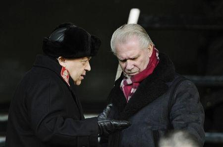 West Ham United's owners Sullivan and Gold chat before the start of their team'sEnglish Premier League soccer match in London