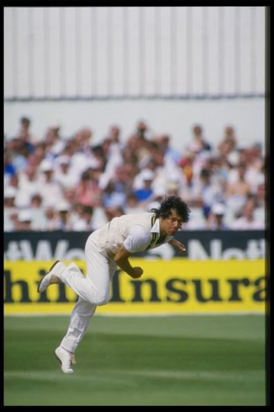 Jul 1987:  Imran Khan bowls for Pakistan in the 3rd Test between England and Pakistan at Headingley.                                  Mandatory Credit: Adrian Murrell/Allsport UK