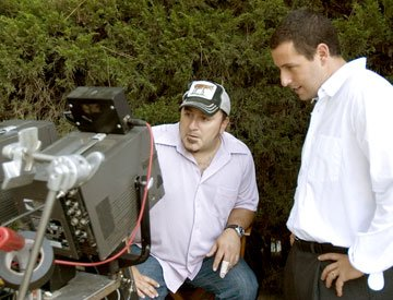 Director Frank Coraci and Adam Sandler on the set of Columbia Pictures' Click