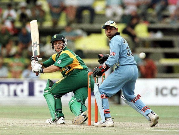 13 Oct 2000:  Mark Boucher of South Africa hits out watched by V. Dahiya of India during the India v South Africa Semi-Final of the ICC Knockout Tournament at the Gymkhana Ground, Nairobi, Kenya Manda