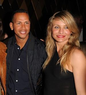 Alex Rodriguez and Cameron Diaz pose for a photo at the CAA Super Bowl Party at the W Hotel - South Beach in Miami Beach, Fla., on February 6, 2010 -- Getty Images