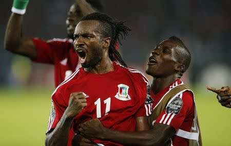 Equatorial Guinea's Balboa celebrates with team mates after scoring against Gabon during their Group A soccer match of the 2015 African Cup of Nations in Bata