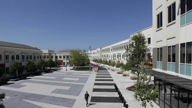 The Facebook campus is shown in Menlo Park, Calif., Friday, May 11, 2012. The company Mark Zuckerberg created as a Harvard student eight years ago is preparing for what looks to be the biggest Internet IPO ever. (AP Photo/Jeff Chiu)