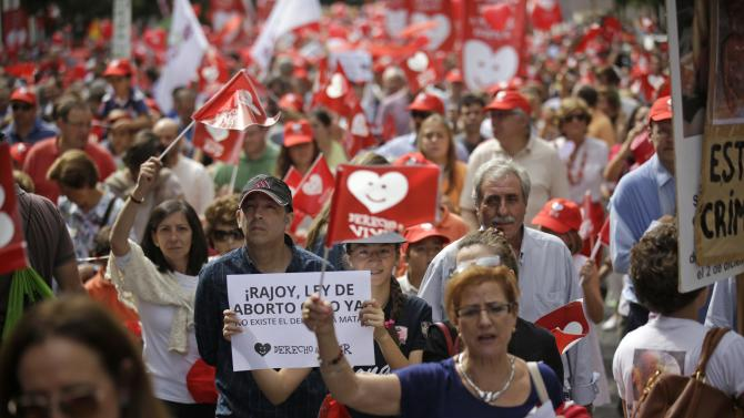 Pro-life demonstrators march holding signs against abortion in central Madrid