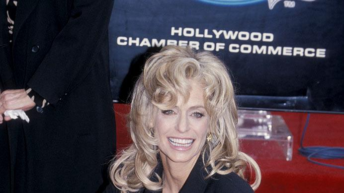 Farrah Fawcett honored with a Star on the Hollywood Walk of Fame in Hollywood, California on February 23, 1995.