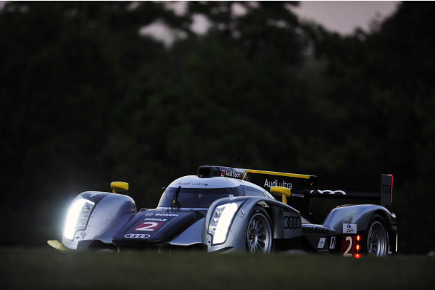 Rinaldo Capello, of Italy, goes through a corner during night practice for the American Le Mans Series' Petit Le Mans auto race at Road Atlanta, Thursday, Sept. 29, 2011, in Braselton, Ga. (AP Photo/R