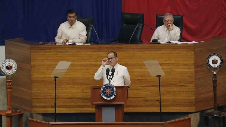 Philippine President Aquino delivers his fifth SONA during the joint session of the 16th Congress at the House of Representatives of the Philippines in Quezon city, metro Manila