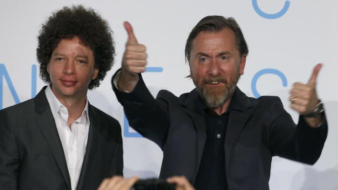 "Cast member Tim Roth and director Michel Franco pose for journalists as they arrive to attend a news conference for the film ""Chronic"" in competition at the 68th Cannes Film Festival in Cannes"