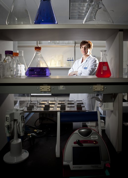 Jansen, senior vice president of Vaccine Research and Early Development at Pfizer Inc, poses in her lab at Pfizer headquarters in Pearl River