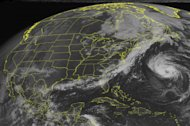 This NOAA satellite image taken Sunday, Sept. 9, 2012 at 10:45 AM EDT shows Tropical Storm Leslie passing to the east of Bermuda on its way northward. A frontal system stretching from Quebec, Canada through the Gulf of Mexico bringing showers and thunderstorms off the eastern seaboard. It will continue off to the east with a high pressure system bringing clear skies across the eastern United States. (AP Photo/Weather Underground)