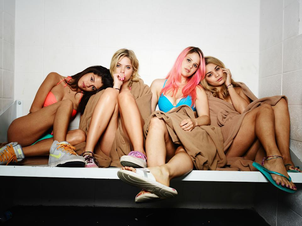 "This film image released by A24 Films shows, from left, Selena Gomez, Ashley Benson, Rachel Korine and Vanessa Hudgens in a scene from ""Spring Breakers."" (AP Photo/A24 Films, Michael Muller)"