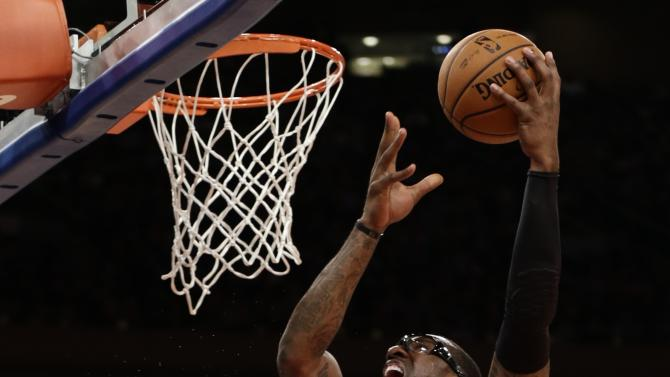New York Knicks' Amare Stoudemire (1) shoots over Oklahoma City Thunder's Serge Ibaka (9) during the first half of an NBA basketball game Thursday, March 7, 2013, in New York. (AP Photo/Frank Franklin II)