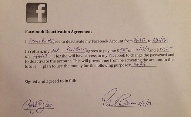 Father and daughter Facebook contract (Image courtesy Paul Baier)