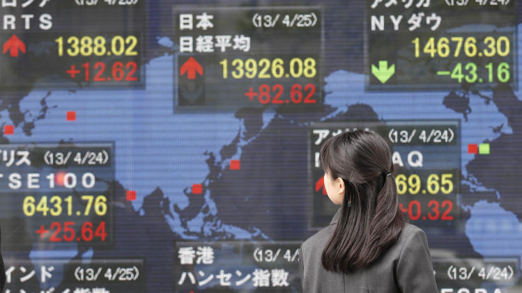 A woman look at an electronic stock board of a securities firm in Tokyo, Thursday, April 25, 2013. Asian stocks rose Thursday as mixed U.S. corporate earnings and a slump in orders for U.S. durable goods convinced investors that central banks would continue efforts to help the global economic recovery. Japan's Nikkei 225 rose 0.5 percent to 13,909.40. (AP Photo/Koji Sasahara)