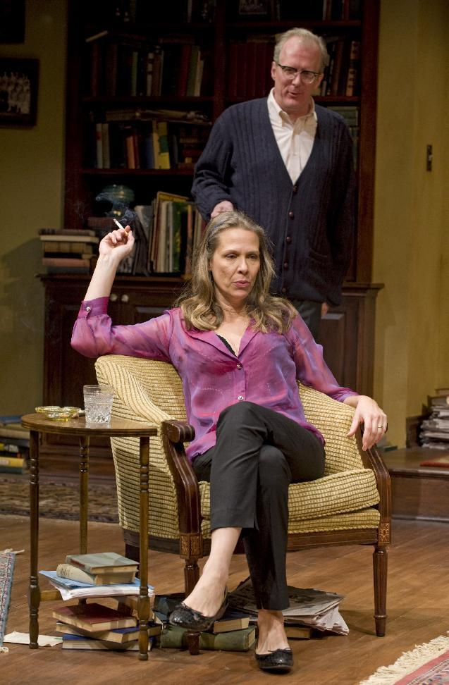 "This theater image released by Jeffrey Richards Associates shows Amy Morton and Tracy Letts in a scene from ""Who's Afraid of Virginia Woolf.""  (AP Photo/Jeffrey Richards Associates, Michael Brosilow)"