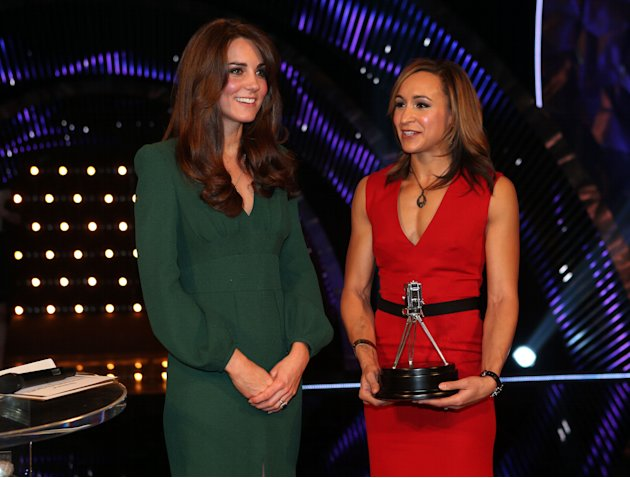 Kate, the Duchess of Cambridge, left, stands alongside second placed Sports Personality of the Year 2012, British athlete Jessica Ennis during the BBC Sports Personality of the Year Awards 2012 in Lon