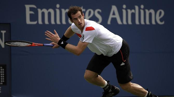 Andy Murray, of Great Britain, chases down a shot from Florian Mayer, of Germany, during the third round of the 2013 U.S. Open tennis tournament, Sunday, Sept. 1, 2013, in New York. (AP Photo/David Goldman)