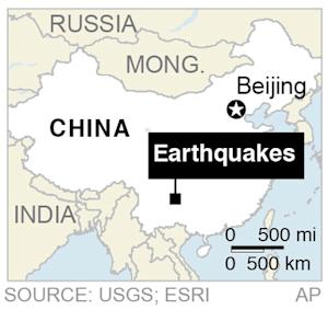 Map shows the location of a series of earthquakes that hit rural southwestern China;