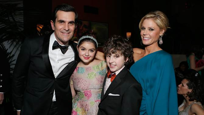 IMAGE DISTRIBUTED FOR FOX SEARCHLIGHT - From left, actors Ty Burrell, Ariel Winter, Nolan Gould and Julie Bowen attend the Fox Golden Globes Party on Sunday, January 13, 2013, in Beverly Hills, Calif. (Photo by Todd Williamson/Invision for Fox Searchlight/AP Images)