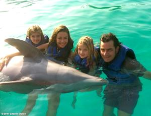 PIC: Denise Richards, Charlie Sheen and Daughters Swim With Dolphins