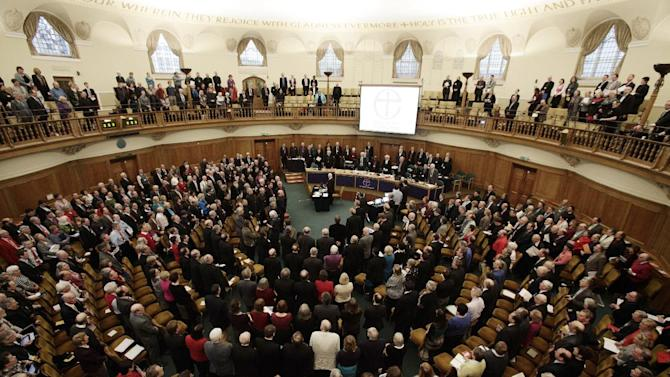 A general view of the Assembly Hall of Church House, during a meeting of the General Synod of the Church of England in central London, Tuesday, Nov. 20, 2012,  - where a vote on whether to give final approval to legislation introducing the first women bishops will take place. The leader of the Church of England appealed for harmony among the faithful as it went into a vote Tuesday on whether to allow women to serve as bishops, a historic decision that comes after decades of debate. The push to muster a two-thirds majority among lay members of the General Synod is expected to be close, with many on both sides unsatisfied with a compromise proposal to accommodate individual parishes which spurn female bishops. (AP Photo/PA, Yui Mok)  UNITED KINGDOM OUT  NO SALES  NO ARCHIVE