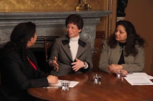 From left: Shine senior editor Lylah M. Alphonse, White House senior adviser Valerie Jarrett, and Office of Management and Budget Senior Project Adviser Preeta Bansal discuss the