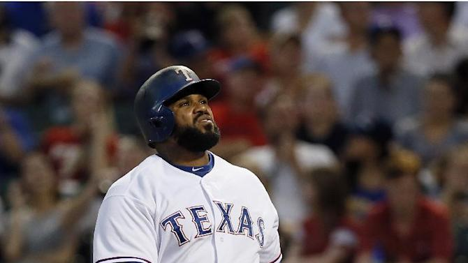 Texas Rangers' Prince Fielder stands at the plate at bat against the New York Yankees in a baseball game Monday July 27, 2015, in Arlington, Texas. (AP Photo/Tony Gutierrez)