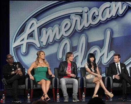 Judges Randy Jackson (L-R), Mariah Carey, Keith Urban, Nicki Minaj and host Ryan Seacrest attend a Fox panel for the television series &quot;American Idol&quot; at the 2013 Winter Press Tour for the Television Critics Association in Pasadena, California January 8, 2013. REUTERS/Mario Anzuoni