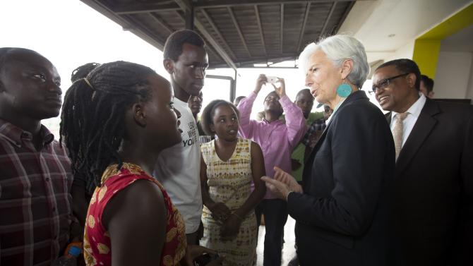 IMF Managing Director Christine Lagarde talks to youths at kLab in Kigali