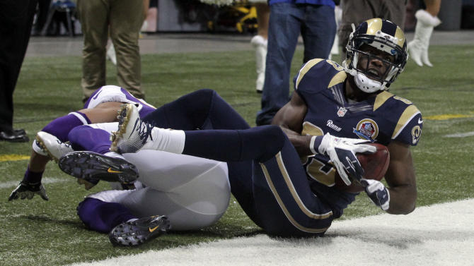 St. Louis Rams wide receiver Brian Quick, right, celebrates after catching a 4-yard touchdown pass near Minnesota Vikings cornerback Josh Robinson, left, during the second quarter of an NFL football game Sunday, Dec. 16, 2012, in St. Louis. (AP Photo/Seth Perlman)
