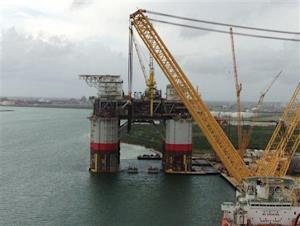 Chevron Corp assembles two ultramodern deepwater oil production platforms at a shipyard in Ingleside