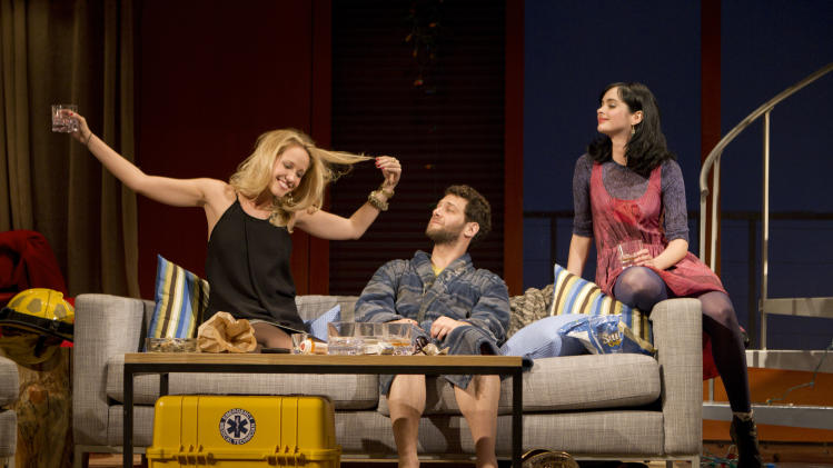 """In this theater publicity image released by The Hartman Group, from left, Anna Camp, Justin Bartha and Krysten Ritter are shown in a scene from Zach Braff's play, """"All New People,"""" in New York. (AP Photo/The Hartman Group, Joan Marcus)"""