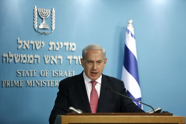 Israel's Prime Minister Netanyahu speaks during a joint news conference in Jerusalem