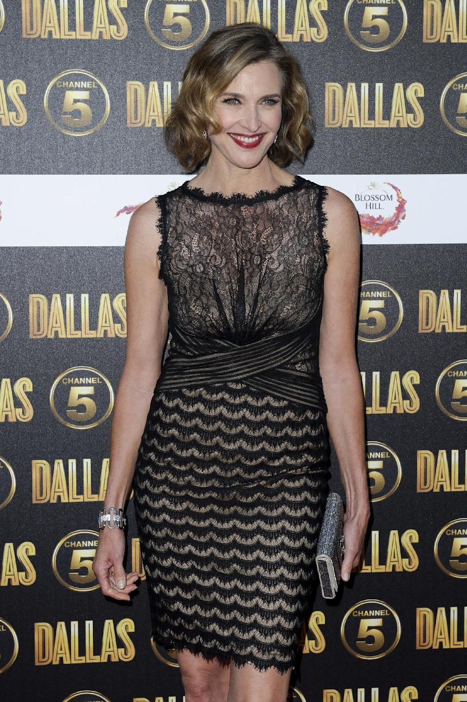 "FILE - In this Aug. 21, 2012 file photo, Brenda Strong arrives for the Dallas launch party in London. Strong, a 2012 Emmy nominee, would love to be on the TV show ""Game of Thrones"" playing a queen as her dream role. (AP Photo/Jonathan Short, File)"