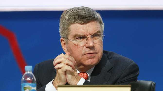 Thomas Bach, vice president of the International Olympic Committee (IOC), attends a report session during the 125th IOC session in Buenos Aires, Argentina, Monday, Sept. 9, 2013. (AP Photo/Victor R. Caivano)