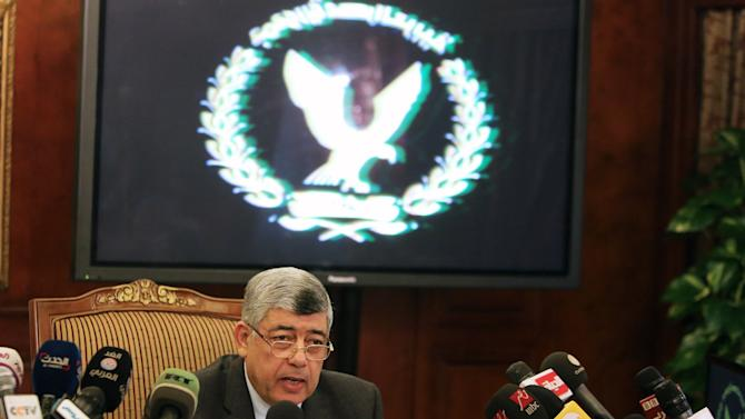 Egypt's Interior Minister Mohamed Ibrahim speaks during a news conference in Cairo