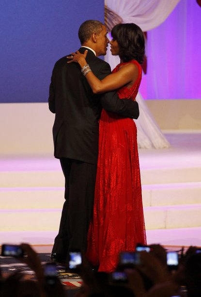 U.S. President Barack Obama and first lady Michelle Obama dance at the Commander in Chief's Ball in Washington