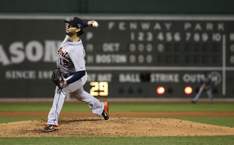 Detroit Tigers starting pitcher Anibal Sanchez throws against the Boston Red Sox in the fourth inning during Game 1 of the American League baseball championship series Saturday, Oct. 12, 2013, in Boston. (AP Photo/Charles Krupa)