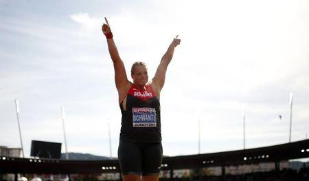 Schwanitz of Germany reacts in the women's shot put final final during the European Athletics Championships at the Letzigrund Stadium in Zurich