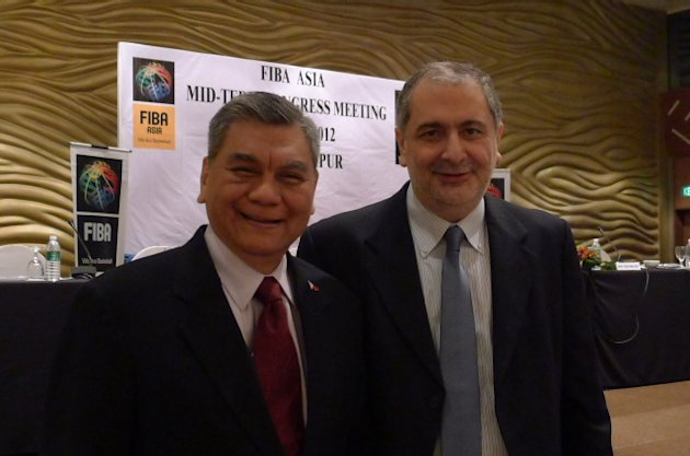SBP Executive Director Sonny Barrios with FIBA Asia Secretary General Hagop Khajirian. (Photo courtesy of Patricia Hizon)